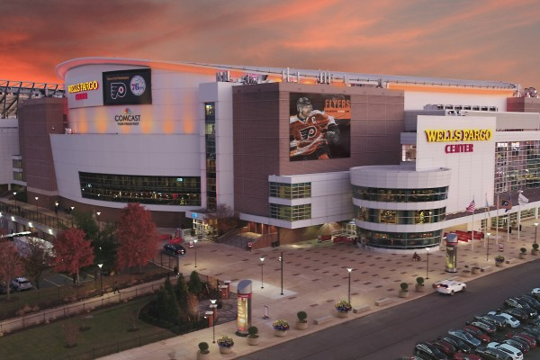 Exterior shot of the Wells Fargo Center at sunset.